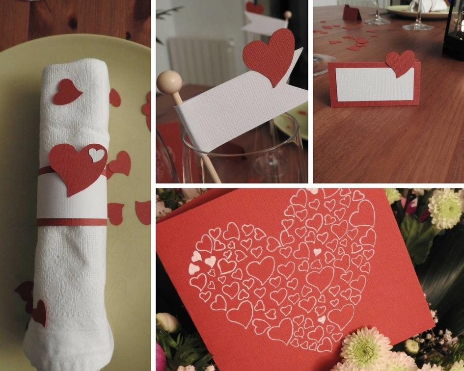 Déco table avec des cœurs rouge et blanc